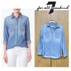 7 For All Mankind Lattice Pocket Boyfriend Shirt